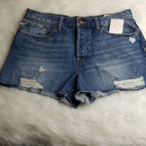 Free People Distressed Jean Shorts Size 31